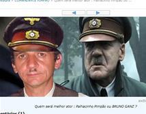 À direita direita Pimpão e à esquerda o ator Bruno Ganz - Cadê Hitler?